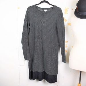 J Jill Striped Black Gray Two Toned Tunic Dress
